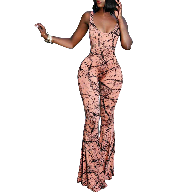 2018 Summer Sexy Sleeveless Backless Slim Bodycon Playsuit Women Bodysuit Female Print   Jumpsuit   Long Pants Boot Cut Club Wear