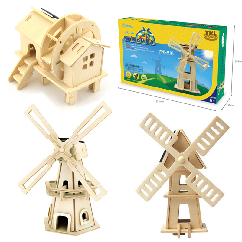 2017 Wooden Solar Energy Powered 3D Windmill Waterwheel DIY Puzzle Jigsaw Building Block Educational Toy Gift for Kid Child -48 airplane 3d jigsaw laser cutting model puzzle educational diy toy