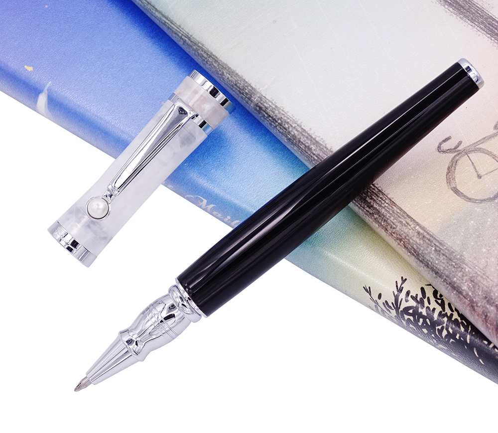Fuliwen Celluloid Rollerball Pen with Refill , Black Barrel & Snowy Cap Fashion Writing Pen Business Office Home School Supplies fuliwen 2051 metal rollerball pen with ink refill fresh fashion style beautiful cream for office home school men and women