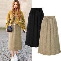 Women New Arrival Autumn Winter Skirt Elastic Waist A line Skirt Woman Bohemian Skirts Vintage Femme Solid Color Plus Size 5XL