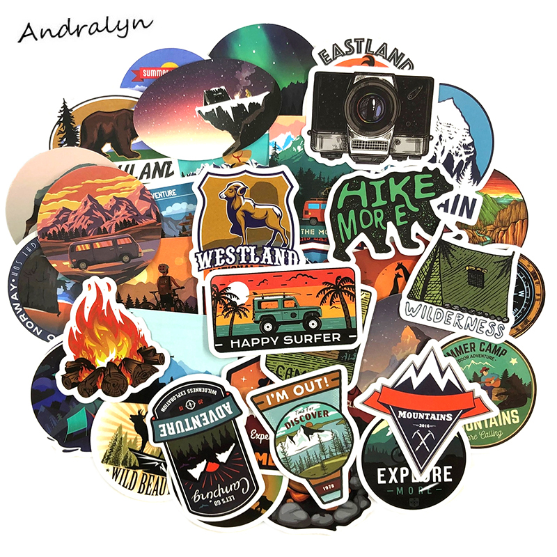 50 Pcs/pack Travel Wilderness Adventure Outdoor Stickers For Luggage Motorcycle Laptop Skateboard  Adesivos Phone Car Stickers