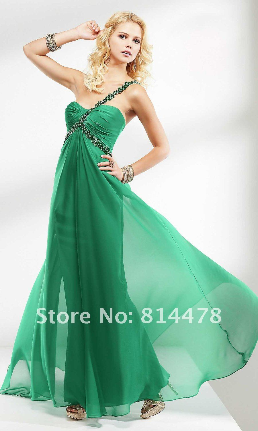 Free shipping cost fabulous chiffon beaded one shoulder prom dress ...