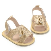 Hot Summer New Gold Paste Baby Girl Shoes Baby Sandals Princess Garden Shoes Fashion Newborn Sandals(China)