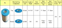 Substituição do filtro Emaux Cartucho CF-50 & spa piscina banheira de água quente Tamanho 364.5x183 MM