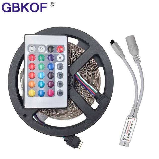 Non Waterproof RGB 5050 3528 LED Strip Light 5m 300 Leds 60LEDs/M Ruban Led  Tape Diode With 24Key/44key/Music Remote Controller
