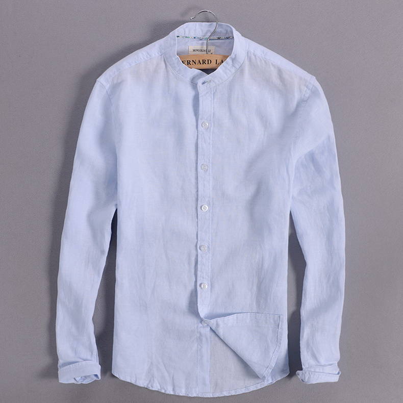 Sky blue linen shirt men summer long sleeve casual men shirts slim breathable shirt mens brand clothing mens shirts chemise 3XL 9