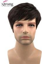StrongBeauty Peluca de pelo sintético corto para hombre, pelo negro marrón oscuro ondulado Natural