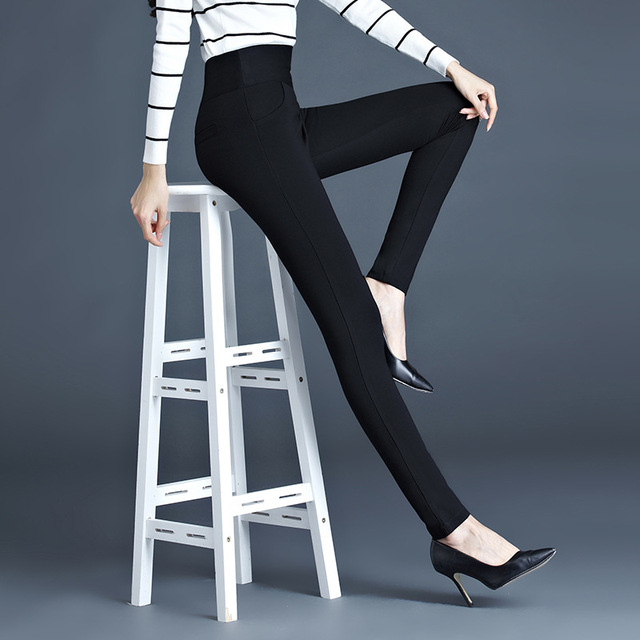 High Quality 2016 New Women Office Work Pants High Stretch Cotton Ladies Pencil Pants Black White Female High Waist Trousers