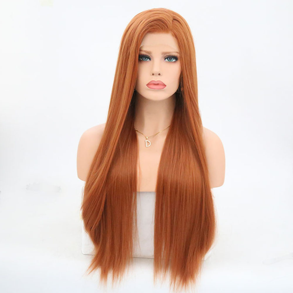 Charisma Long Silky Straight Glueless Synthetic Lace Front Wigs With High Bangs High Temperature Fiber Wigs