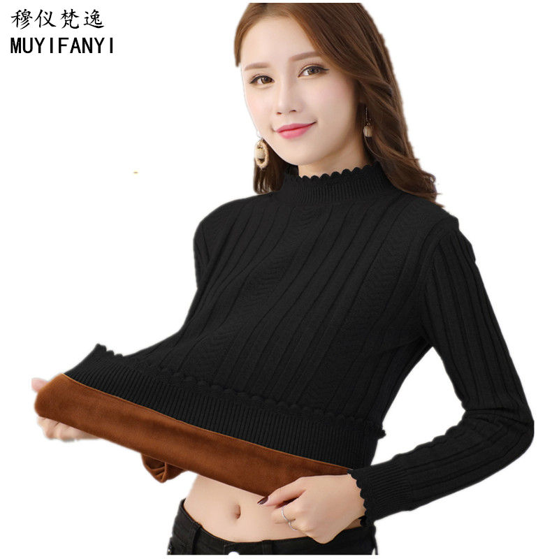 2018 Fashion Sweaters Women Pullovers Winter Ladies Turtleneck Thick Velvet Casual Jumpers Warm Knitted Sweaters