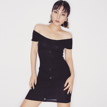 European and American Street Style New Slim Sexy Strapless One Word Neck Collar Dress Black Bag Hip Short Sleeve Bottoming Skirt