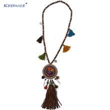 Кожаные Подвески ручной работы ожерелье деревянная цепочка из