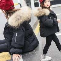 Christmas Fur Hooded Toddler Kids Winter Jackets For Girls Thick Autumn Baby Girl Winter Coat Green Red Black Pink Tops Outwear