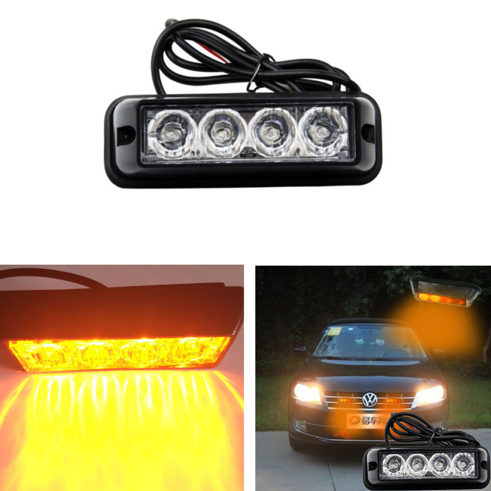 CYAN SOIL BAY 4 LED Car Emergency Beacon Light Bar Hazard Strobe Warning Yellow Amber for Truck SUV
