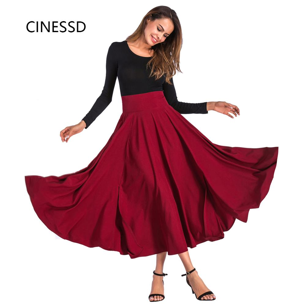 CINESSD Women Maxi Skirt High Waist A-Line Swing Office Lady Summer Autumn Fashion Solid Casual Party Bowknot Pleat Long