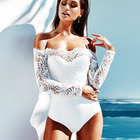 DERUILADY Elegant Off Shoulder Lace Bodysuits Solid Body Top Romper 2018 Women Jumpsuits Long Sleeve Slim