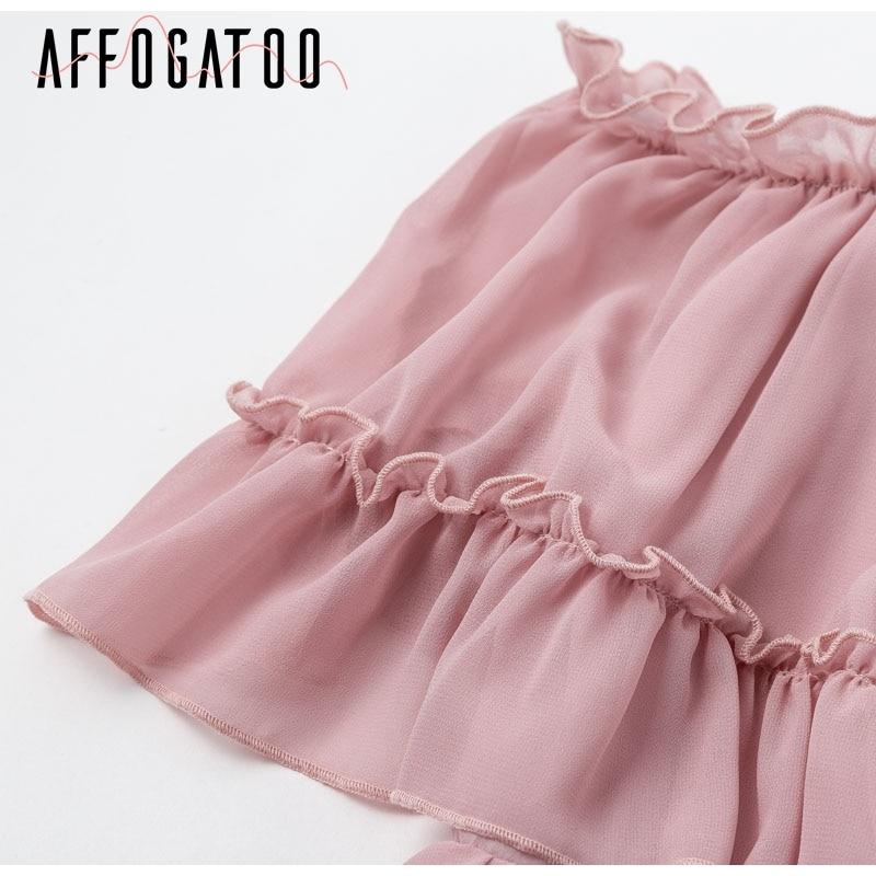 Affogatoo Elegant ruffle off shoulder strap summer pink dress women Casual chiffon pleated blue dress Loose holiday short dress 11