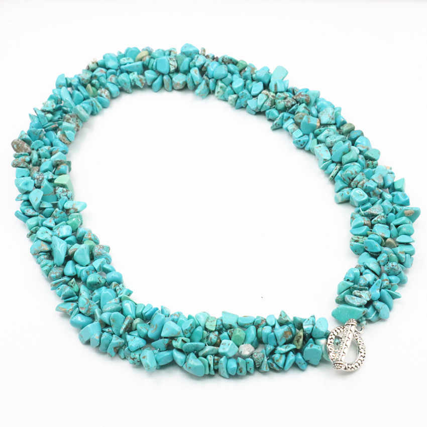"Vintage Style Turquoises Calaite Stone Beads Necklace Irregular Chip 5-7mm Fashion Statement Women Torque Chain Jewelry 18"" A440"