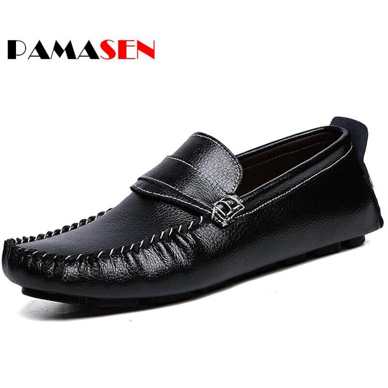 PAMASEN Spring Casual Shoes Genuine Leather Men Loafers Slip On Fashion Drivers Loafer Cow  Bright Leather Moccasins Men Shoes dxkzmcm new men flats cow genuine leather slip on casual shoes men loafers moccasins sapatos men oxfords