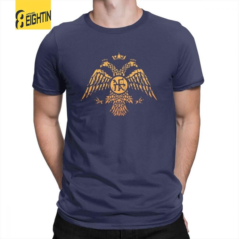 SPQR Byzantine Eagle Symbol Flag Navy T Shirt Vintage Men's Casual Tees 100% Cotton Round Neck T-Shirt Plus Size