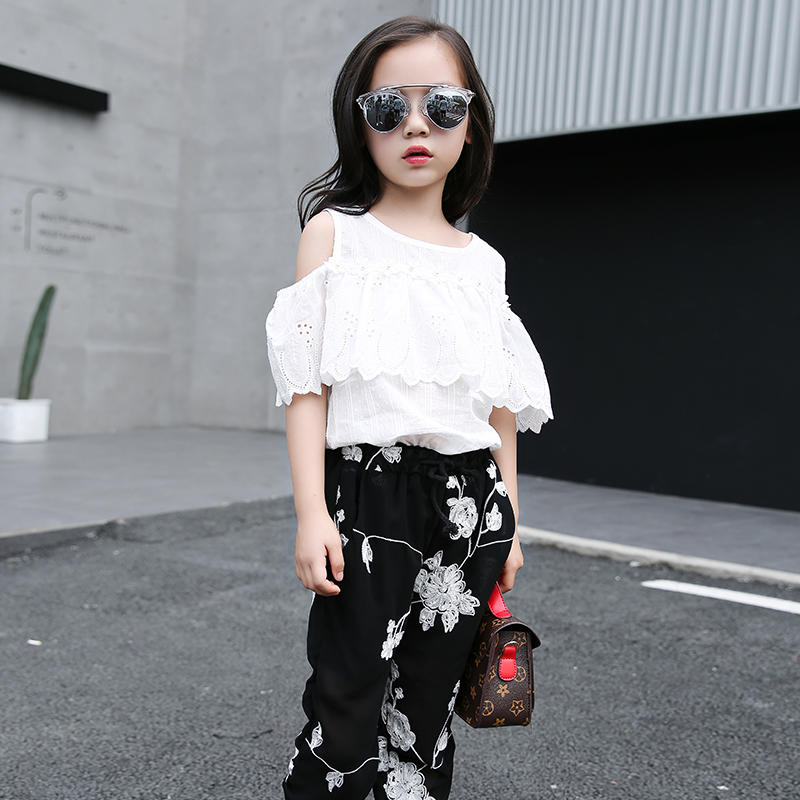 2pcs Teenage Girls Summer Clothes Sets Kids Girl Leak Shoulder Lotus Leaf Top+Chiffon Floral Pants Anti-mosquito Outfits 110-160