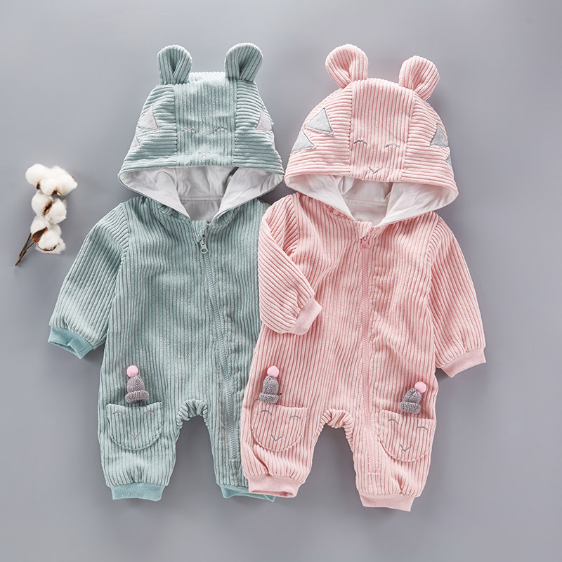 Newborn Baby Clothes Girls Romper Cute Bear Jump Suit Boys Clothes For Children 2017 Autumn Winter Hooded Body Suit Baby Clothes autumn baby clothes flannel baby boys clothes newborn fleece animal girls jumpsuit hooded toddler cute bear romper baby costumes