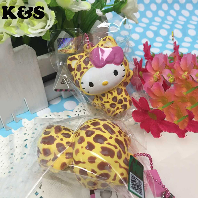 5Pcs/Lot Cute Leopard Hello Kitty Squishies Wholesale Doll Original Package Licensed Chain Charm Stand Doll Kuwaii 6CM