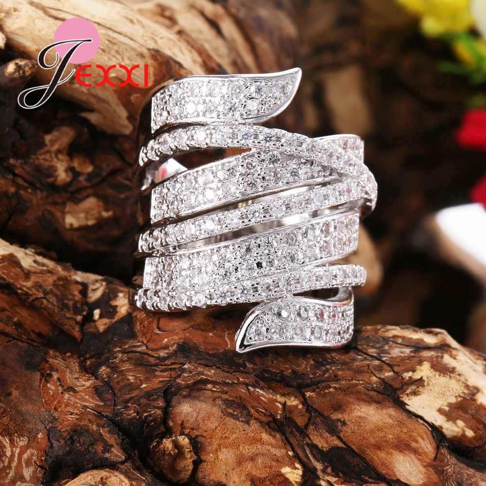 Faixas De Casamento De Prata Esterlina 925 Anéis Para As Mulheres Limpar CZ Cristal Austríaco Inlay Pave Jóias Para Senhoras Presentes Do Partido Dos Homens