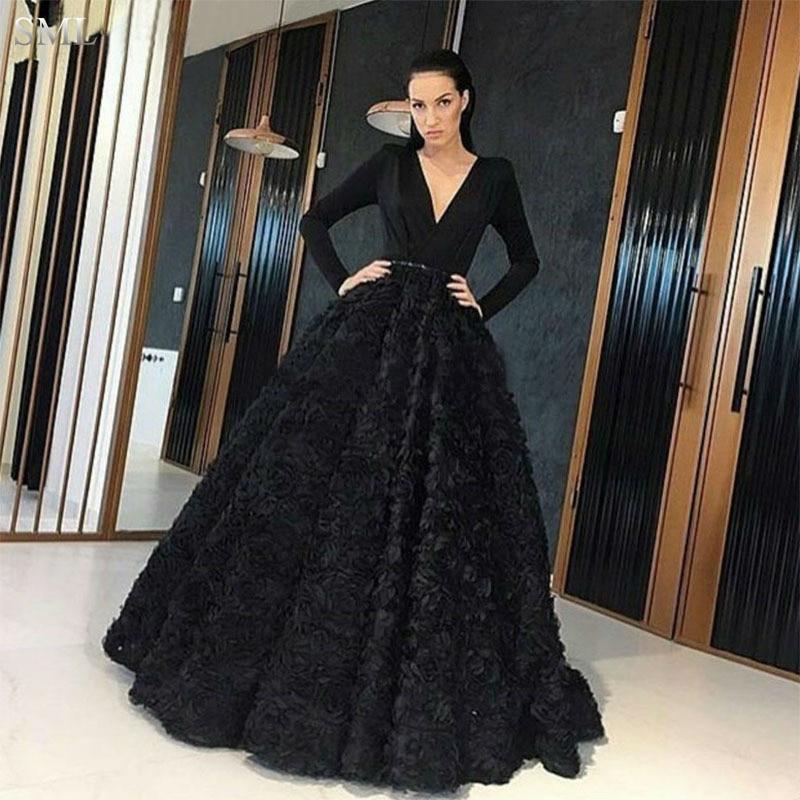 sml fancy deep v neck black evening dress long sleeve 2017