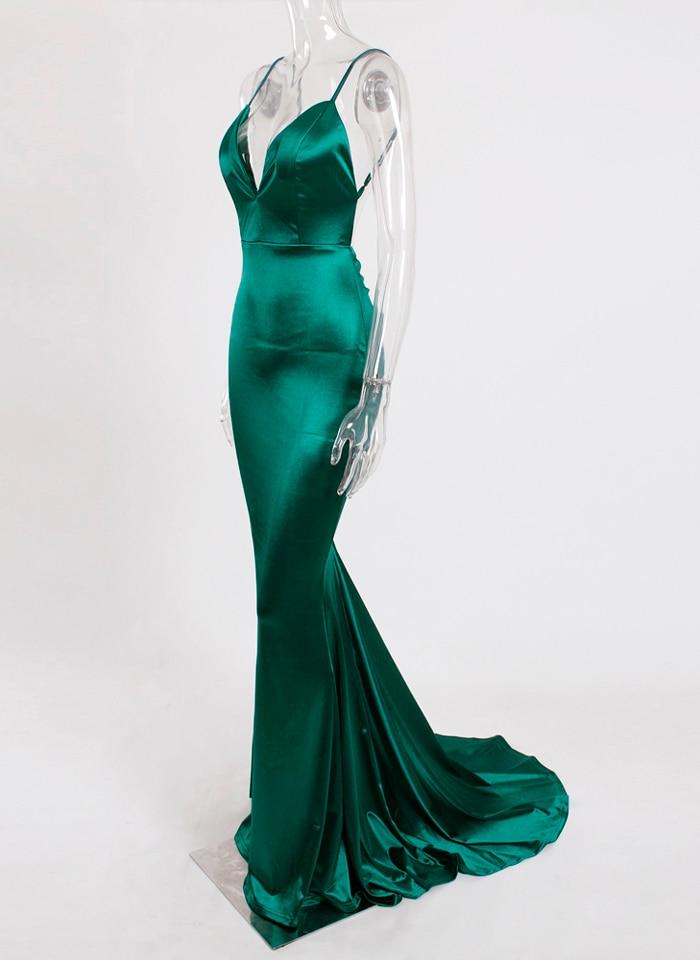Deep V-Neck Burgundy Satin Mermaid Open Back Long Evening Dress 44
