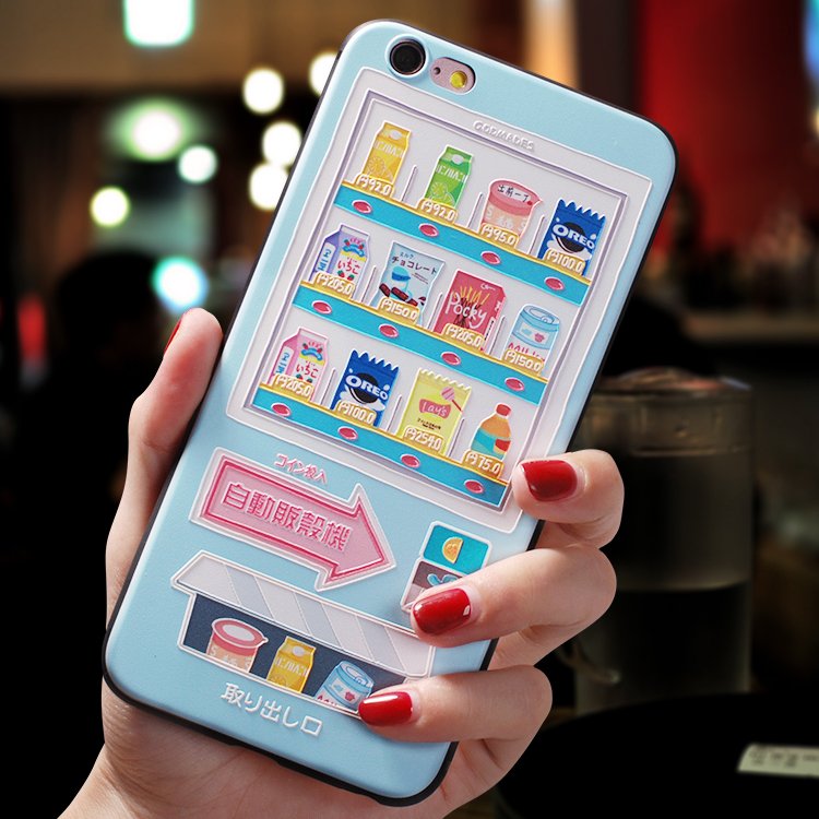 Image 2 - Japanese cartoon vending machine delicious snack Emboss Case For Iphone XS MAX For XR XS X cover For iphone 6 6S 7 8 plus caseFitted Cases   -