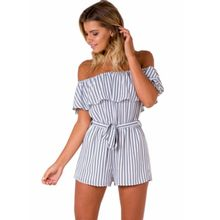 New hot summer Polish ladies style temperament fashion personality shoulder plaid stripes sexy woman wide leg jumpsuit