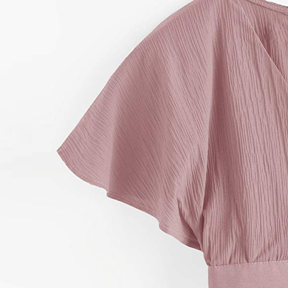 Women Ladies Bow Short Sleeve Shirt Blackless V Neck Short Tops Polyester Solid Women's Harajuku Crop top #7925 15 Online shopping Bangladesh