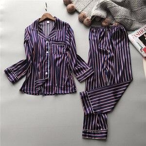 Image 3 - Lisacmvpnel Fashion Women Vertical Stripe Rayon Pajama Set Loose Leisure Spring Pajamas