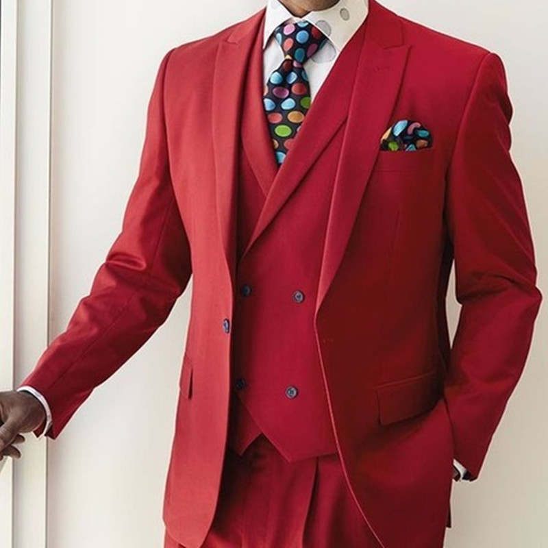 2017 Fashion Red Men Suit Blazer With single Breasted Vest Wedding Suits for men Formal Party Tuxedo 3 Pieces(Jacket+Pants+Vest)