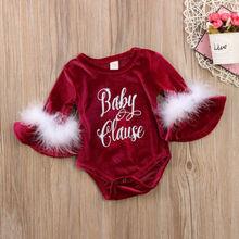 Pudcoco/Новинка года; Рождественский Комбинезон для маленьких девочек с длинными рукавами; комбинезон для новорожденных; плюшевая одежда принцессы; Рождественский подарок