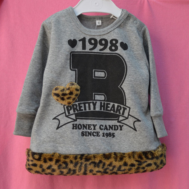 free shipping girls sweater Leopard-print pullover for autumn and winter unisex cute print sweatshirt for 1-2years