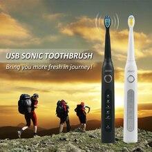 Звуковая электрическая зубная щетка 3 сменные насадки для взрослых USB перезаряжаемая Мощность зубная щетка переносная дорожная водостойкая