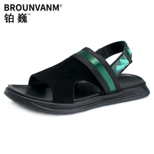 Genuine Leather Mens Roman Sandals Summer Outside Slippers Dual-purpose Youth Fashion Beach Shoes mens gladiator sandals summer