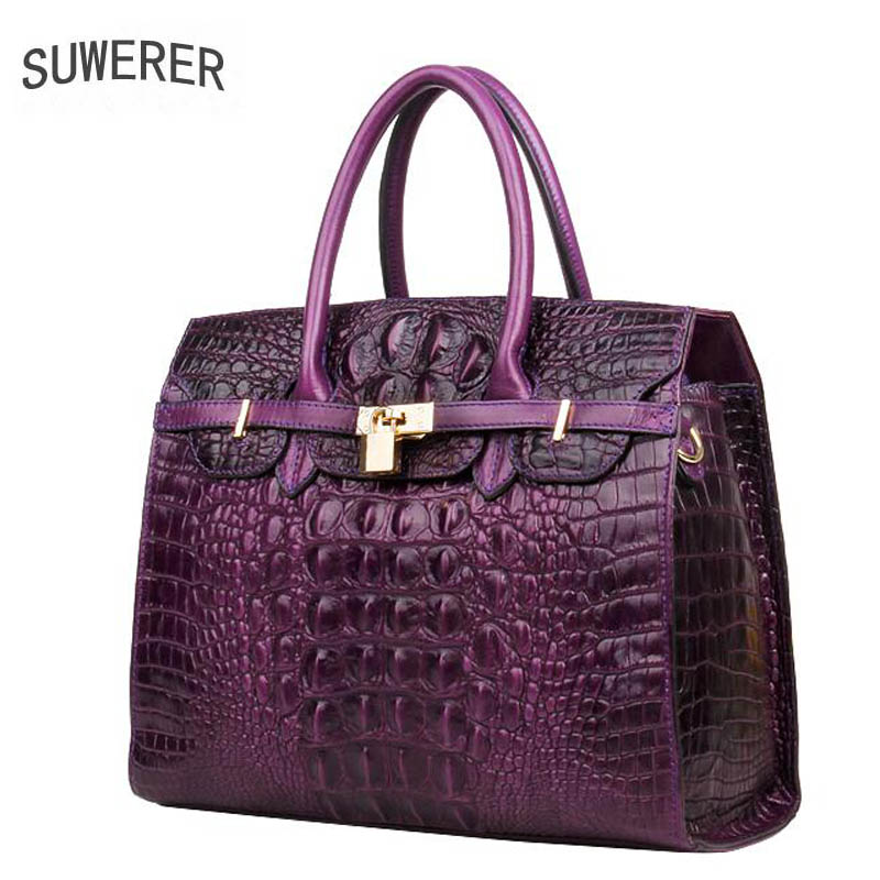 2018 New superior cowhide leather Genuine Leather women bags Crocodile pattern Leather Tote bags handbags women famous brands цена
