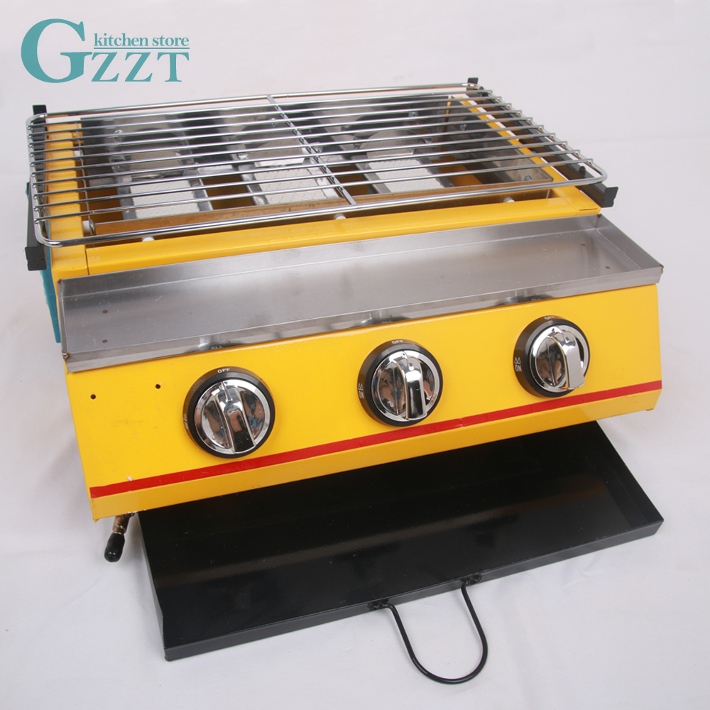 Commercial Household BBQ Barbecue Yellow Gas Grill Three Burners Garden Outdoor Steel Shield/Glass Shield
