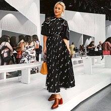 XF 20120 robe pour femme bohème mi longue, modèle de styliste, Section mi longue, taille haute, mode Milan Runwa, printemps et été décontracté