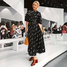XF 20120 אביב ובקיץ מודלים דגם מעצב בוהמי נשים שמלת בינוני ארוך סעיף גבוה המותניים אופנה מזדמן מילאנו Runwa