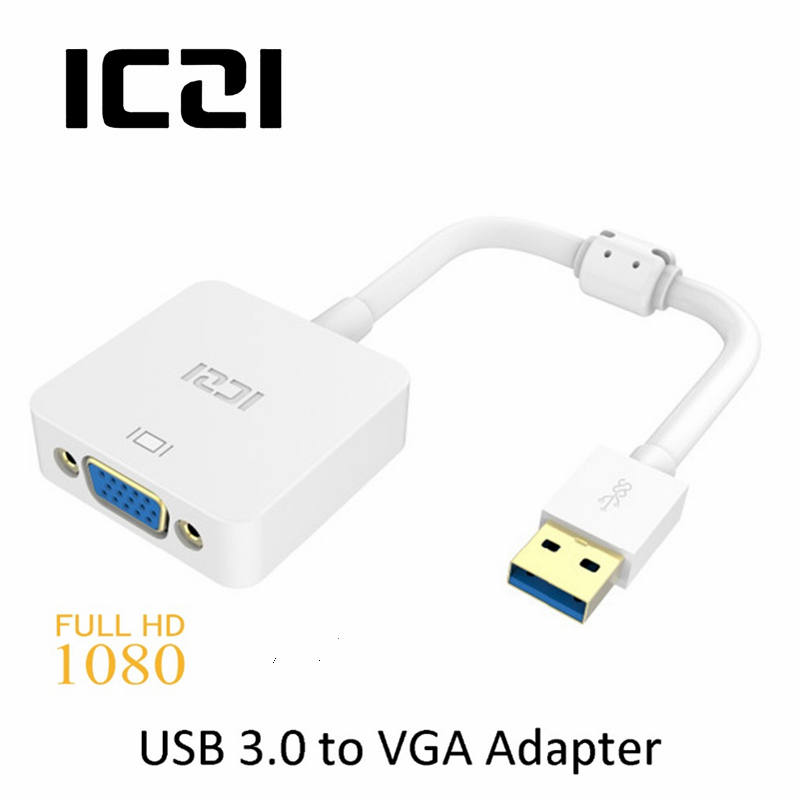ICZI USB 3.0 to VGA Adapter Male to Female Adapter Converter Support Max Resolution 1080P for PC Laptop Windows 10/ 8.1/ 8/ 7/XP росмэн 32116 колпачок миньоны