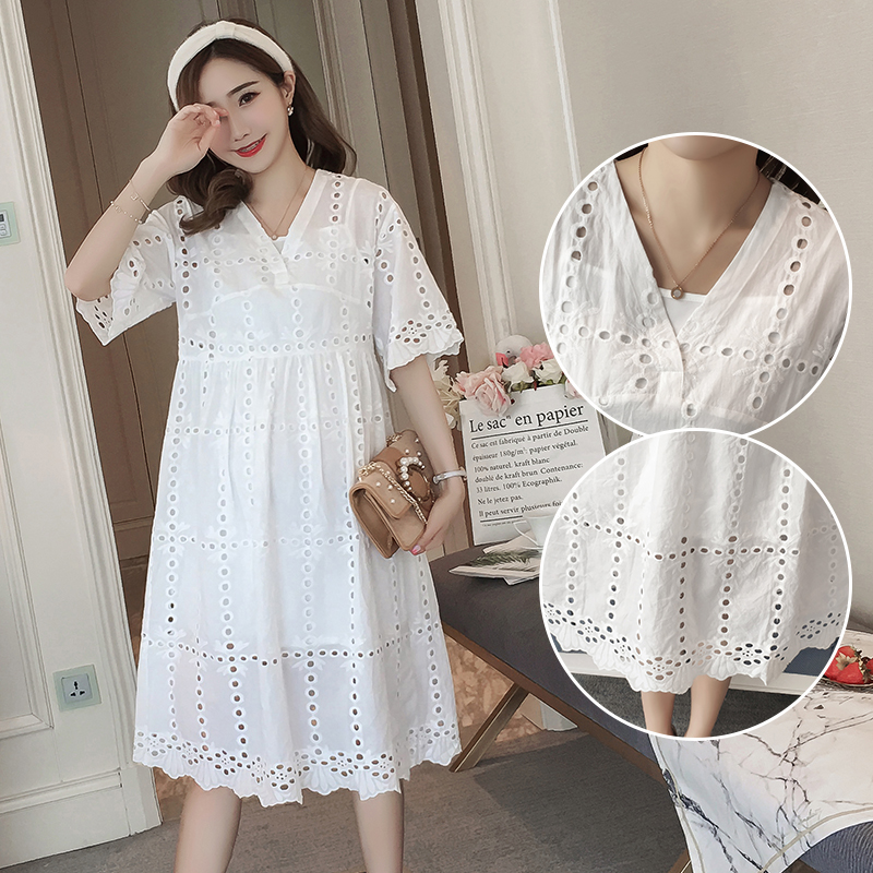 2018 Maternity Dress Lace Embroidery Pregnancy Clothes Fashion Preppy Style Chiffon Maternity Clothing Of Pregnant Women