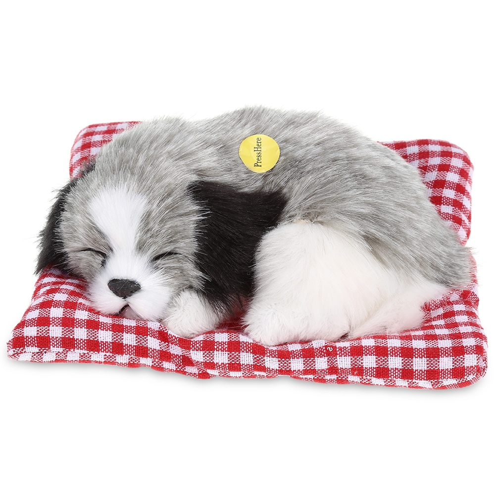 Lovely Sleeping Dog Craft Toy With Sound Gift For Children Simulation Plush Toys