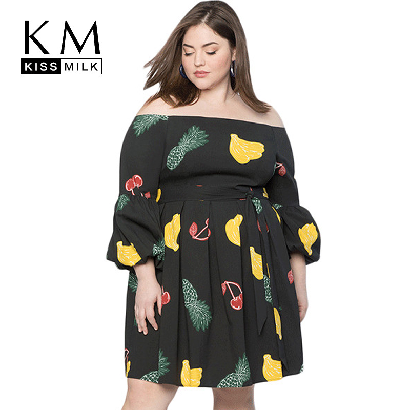 Kissmilk Plus Size Simple And SexyOne-necked Strapless Fruit Print With Long Sleeve Dress