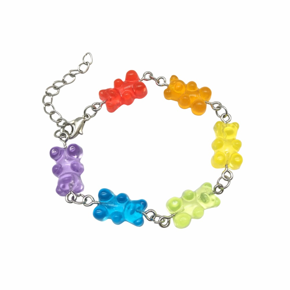 6 Colors Cute Handmade Stainless Steel Cartoon Bear Bracelet, Candy Color Pendant For Women Men Judy Jewelry Party Creative Gift