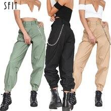 дешево!  SFIT 2019 Новая Мода Женщины Высокой Талией Хип-Поп Боевые Карго Брюки Леггинсы Брюки Твердые Длинны