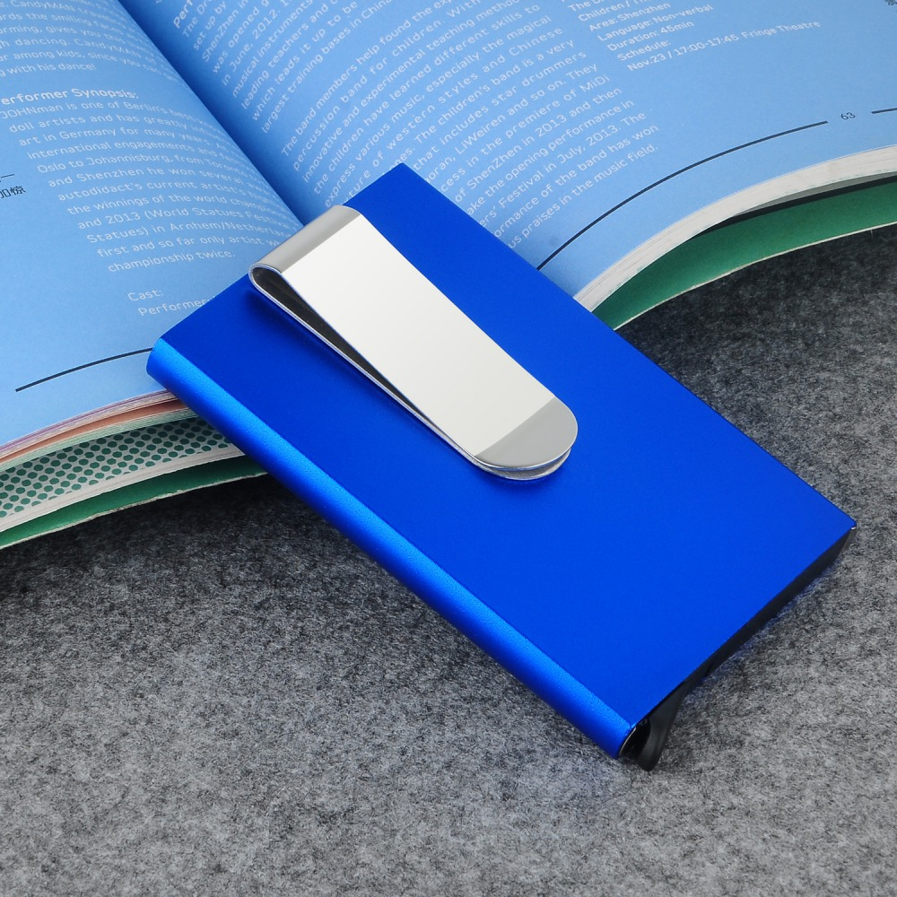 Metal Business ID Travel Card Wallet Automatic Pop Up ID Credit Card Holder Men Women Business Card Case Stainless Steel Clip #E business card holder women vogue thumb slide out stainless steel pocket id credit card holder case men